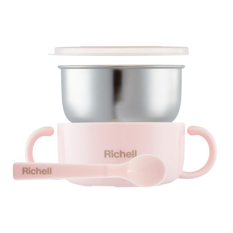 Richell/利其尔 宝宝不锈钢碗婴儿碗研磨辅食碗 双层隔热儿童餐具