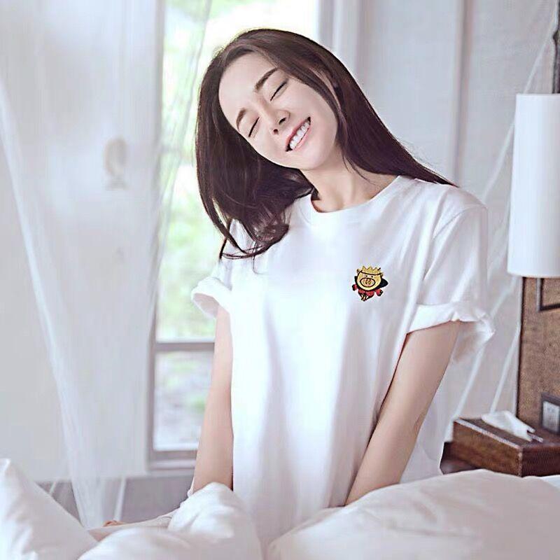 麦麦家代购 2020夏季新款短袖迪丽热巴同款上衣刺绣白色纯棉T恤女