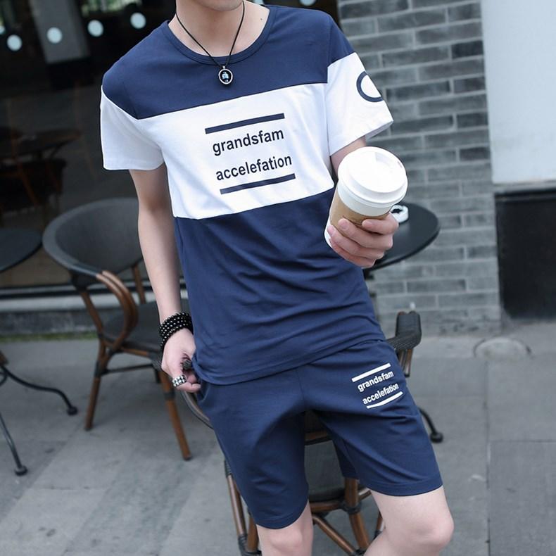 新款韩版潮流休闲帅气一套衣服男装夏装 2018 恤男士套装夏季 t 短袖