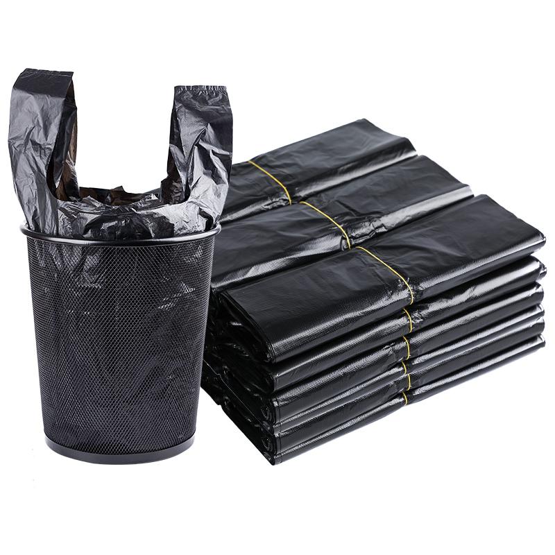 黑色手提式垃圾袋加厚家用办公一次性大小号背心式塑料袋包邮批发