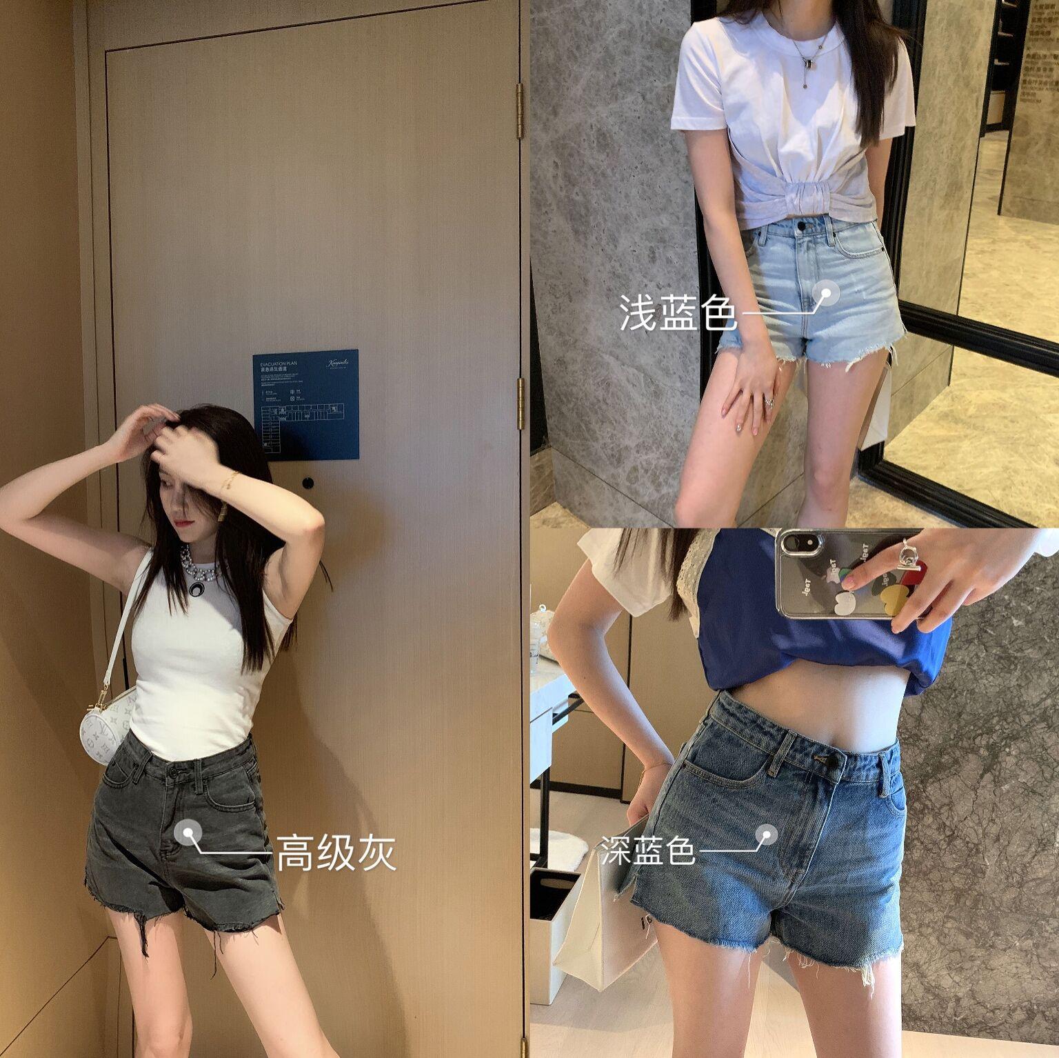 2020夏ins风黑色牛仔短裤经典大王aw中高腰热裤宽松显瘦网红款女