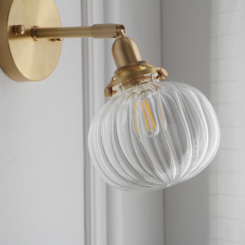 简约卫生间浴室镜前灯照画灯 日式复古北欧床头黄铜壁灯 西早