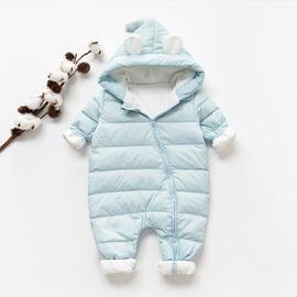 婴儿连体羽绒服冬装加厚新生婴幼儿外出抱衣0-1岁2男女宝宝连体衣