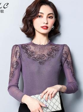 2021新款网纱打底衫女春秋高领蕾丝上衣性感薄款洋气内搭长袖T恤