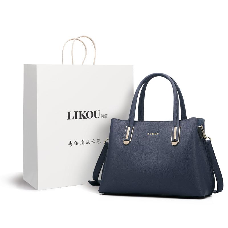 新款时尚真皮包中年女士手拎包袋手提斜挎包 2019 例蔻女包妈妈包包
