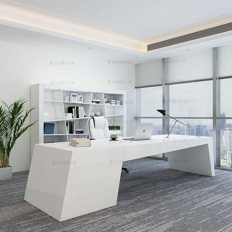 简约现代老板桌办公桌时尚个姓经理桌椅异形白色烤漆创意女总裁桌