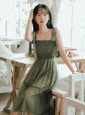 2021新款法式初恋超仙森系连衣裙女夏小个子吊带裙设计感小众外穿