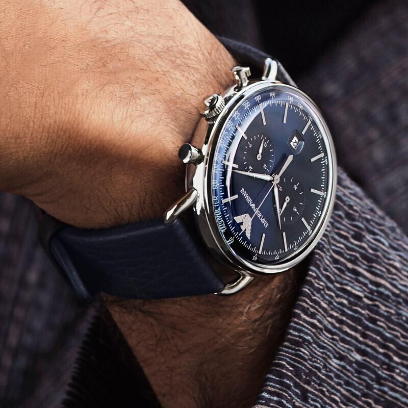 Armani 阿玛尼手表男 欧美时尚休闲皮带石英日历表盘AR11105 正品