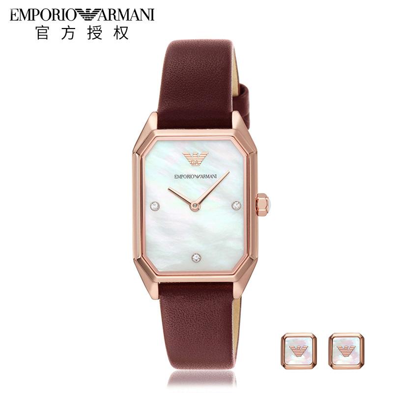 Emporio Armani阿玛尼手表女 新款时尚方盘皮带石英女手表AR80028