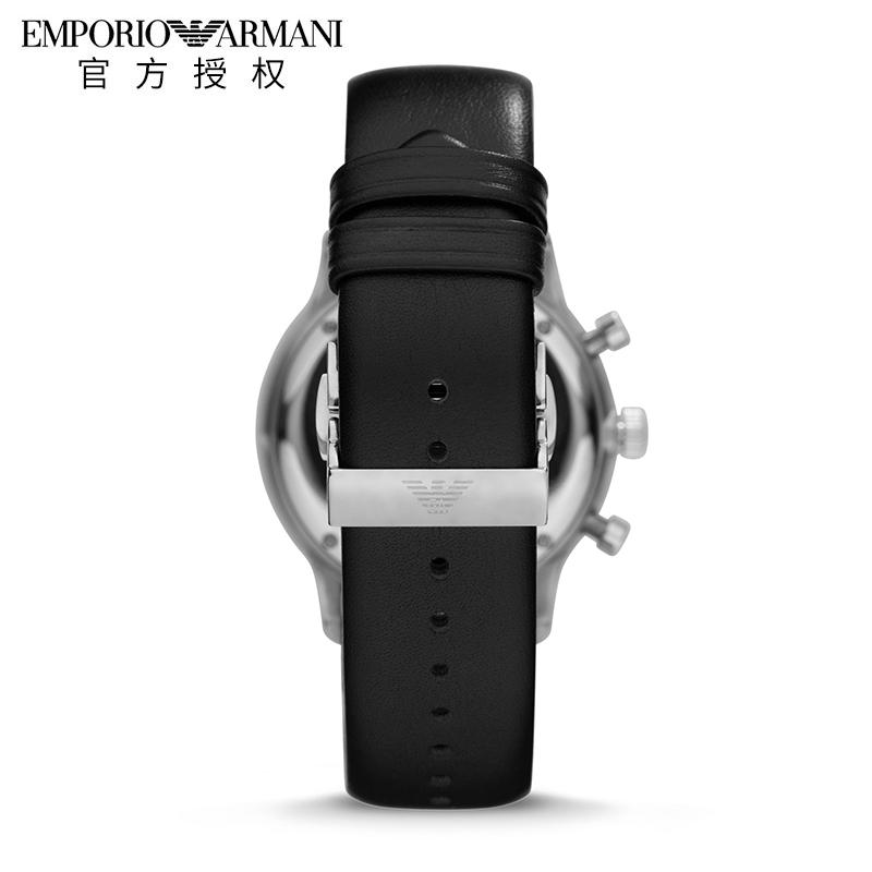 Armani阿玛尼手表男商务时尚皮带黑色石英男表官方正品防水AR0397