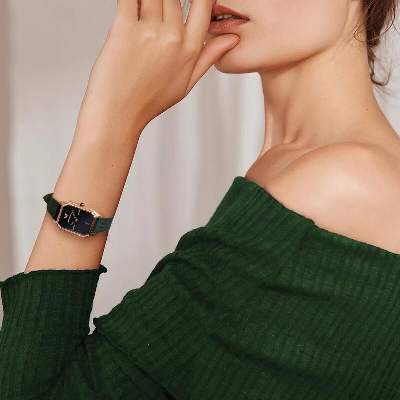 阿玛尼手表女士小方表盘正品十大品牌AR11149复古小绿表