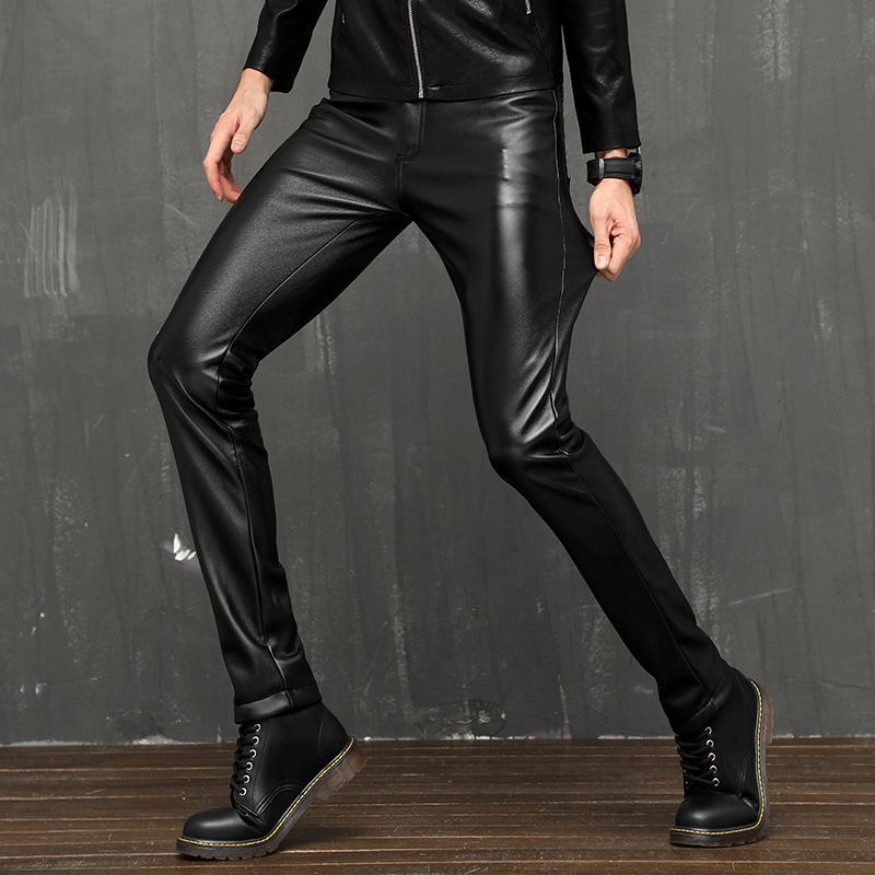 男皮裤紧身韩版青年弹力小脚修身韩版摩托车皮裤子PU秋冬加绒厚款
