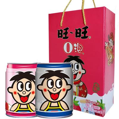 旺旺O泡果奶旺仔牛奶铁罐装原味+草莓味245ml*12大瓶整箱儿童饮料