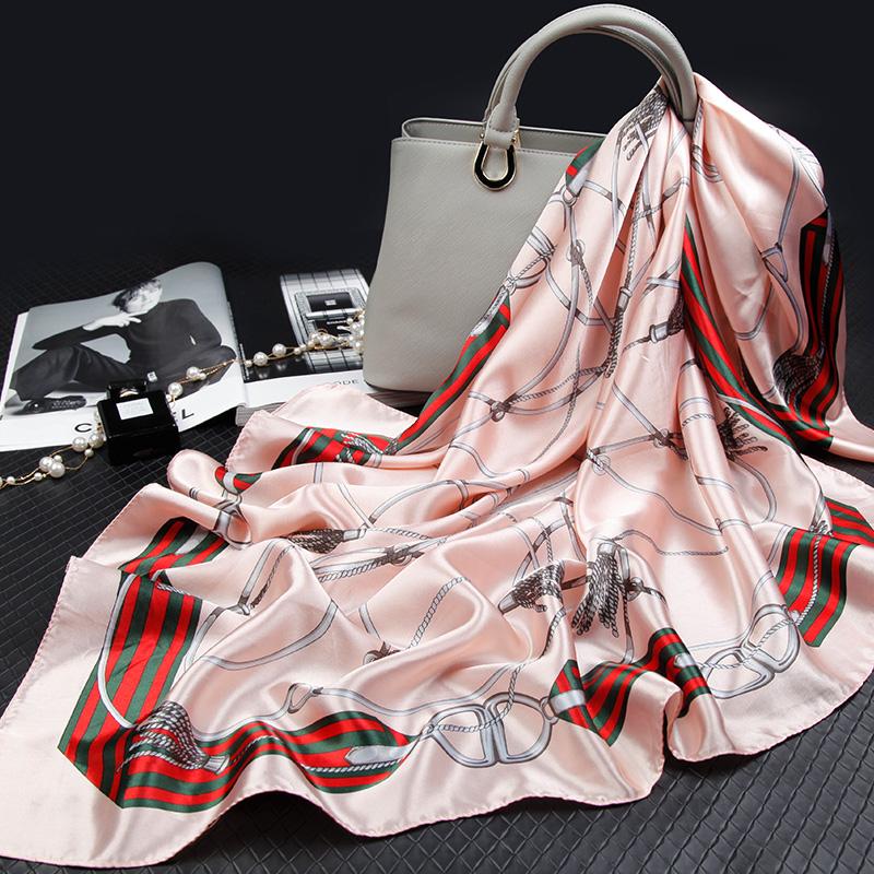 丝巾女大方巾正方形90cm穿旗袍的披肩四方外搭披肩丝带女配饰脖子