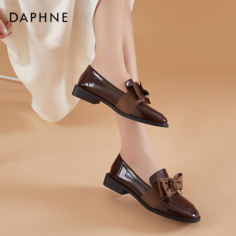 新款一脚蹬鞋小皮鞋英伦风 2020 达芙妮蝴蝶结乐福鞋女平底单鞋秋季
