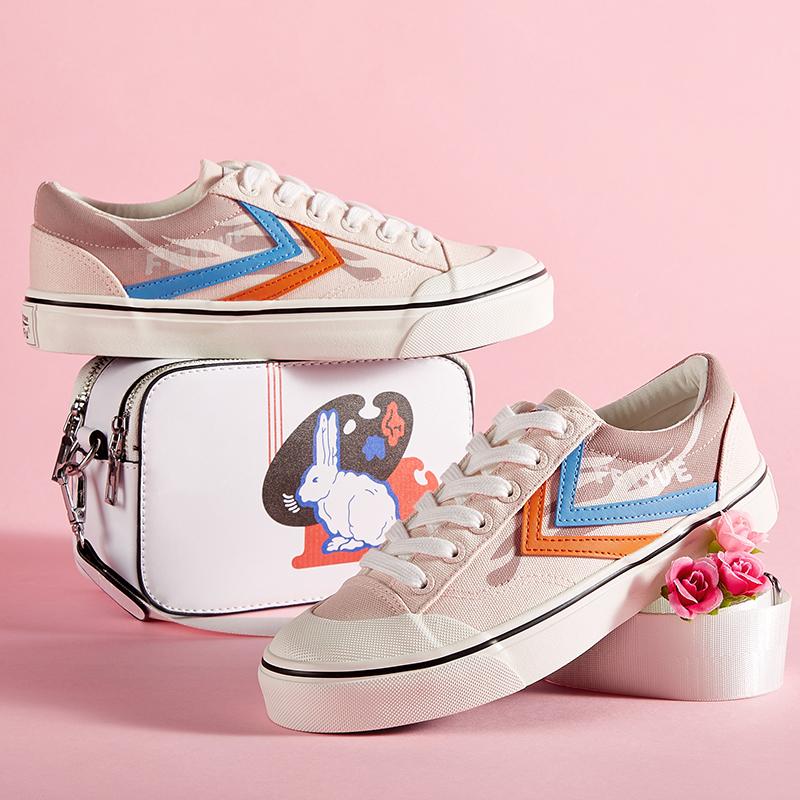 feiyue/飞跃新款低帮圆头樱花粉帆布 时尚休闲硫化情侣小白男女鞋