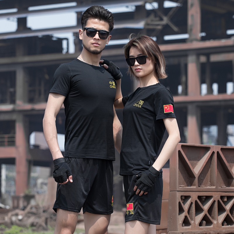 07体能训练服套装夏季军人战术短袖特种兵T恤男圆领刺绣军迷T恤