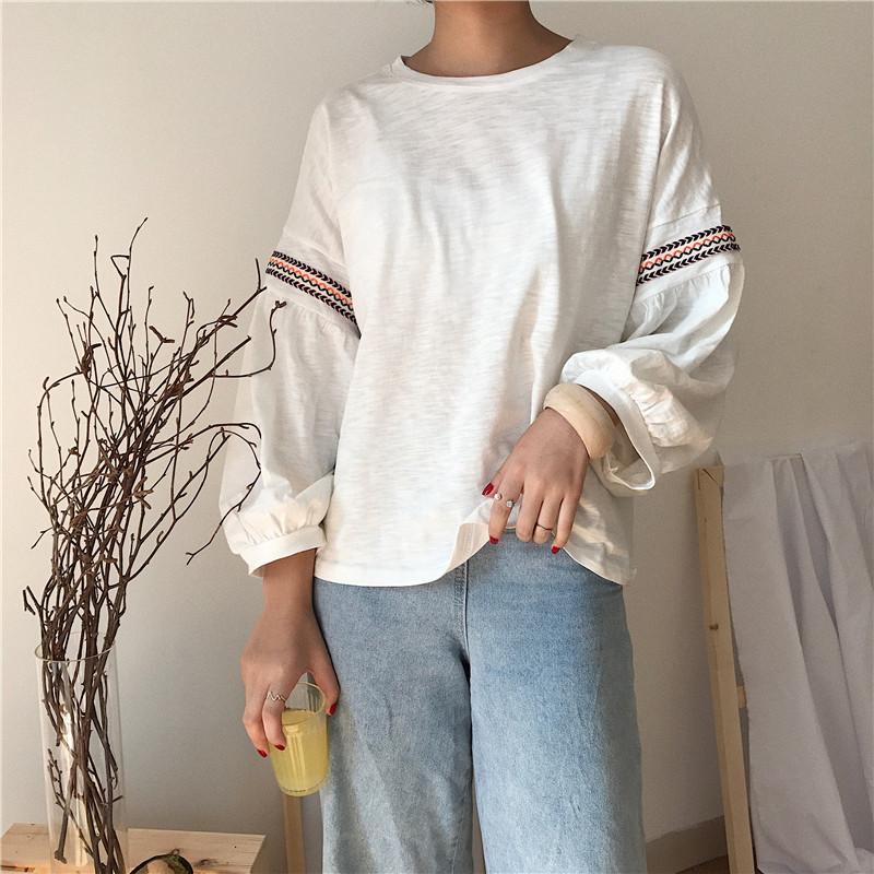 宽松长袖t恤女装外穿早秋衣内搭 新款春秋季白色初秋上衣潮
