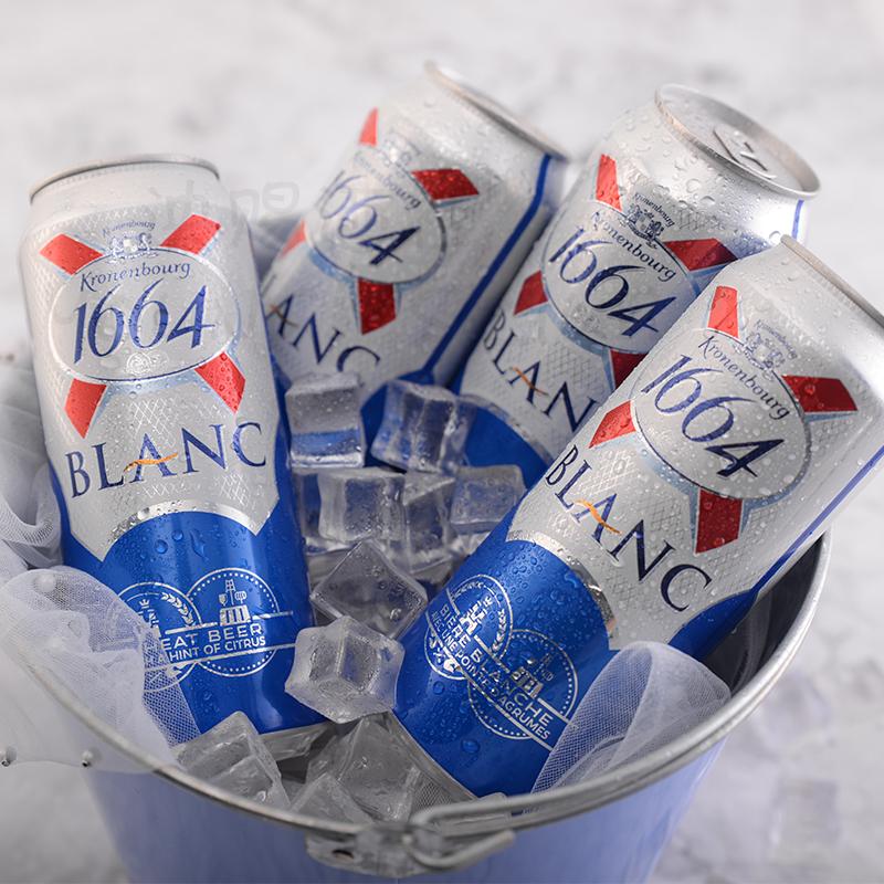 听 12 500ml 听装啤酒 1664 白啤酒克伦堡凯旋 1664 法国原装进口 整箱