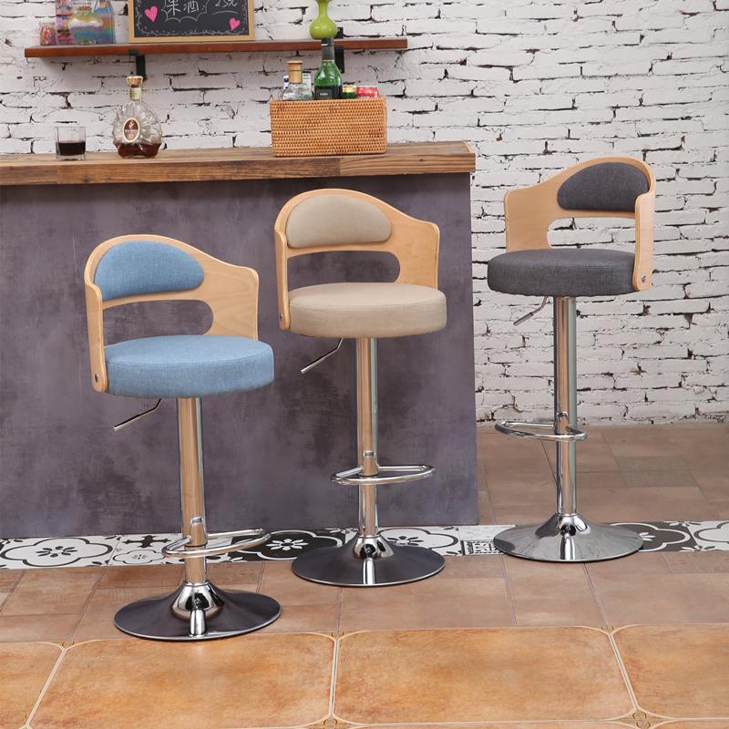 升降吧台椅实木靠背欧式复古旋转酒吧椅前台收银高脚凳子简约转椅
