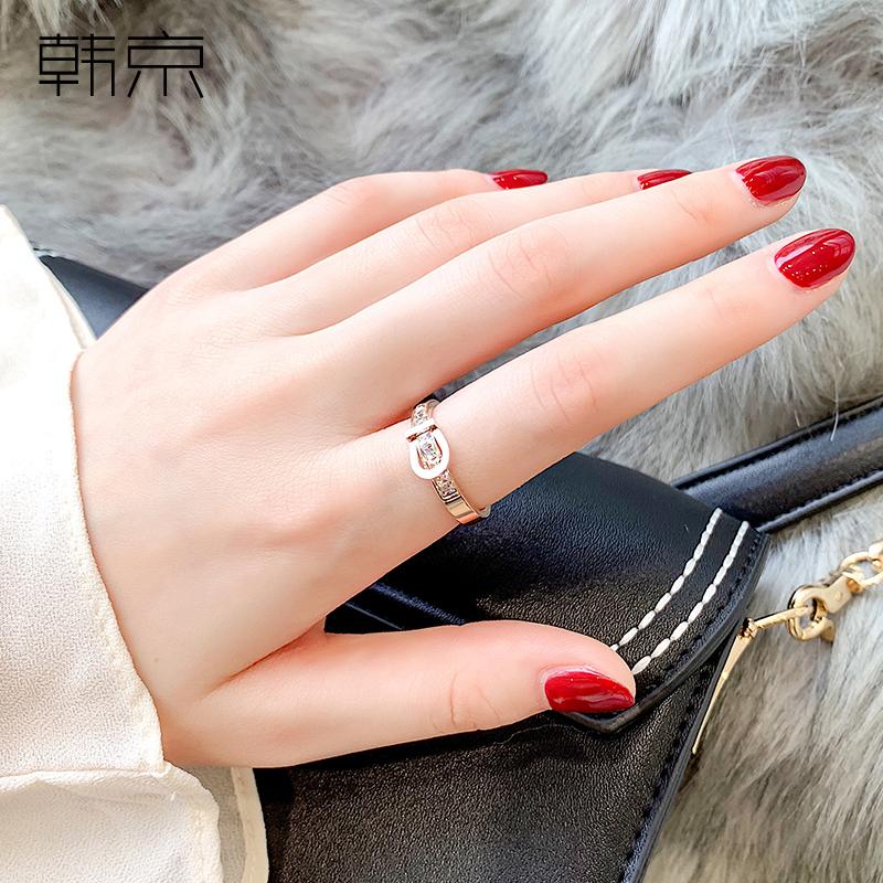 大气镶钻潮人钛钢镀玫瑰金戒指女冷淡风指环网红皮带头食指装饰品