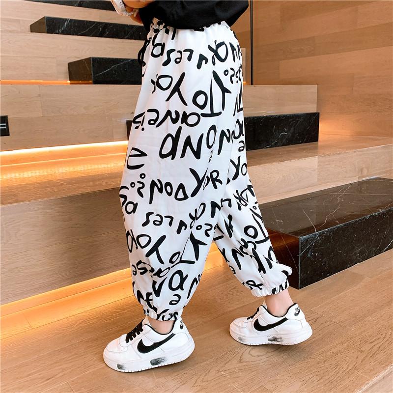 男童防蚊夏季薄款裤子2021年新款童装亲子装冰丝裤子