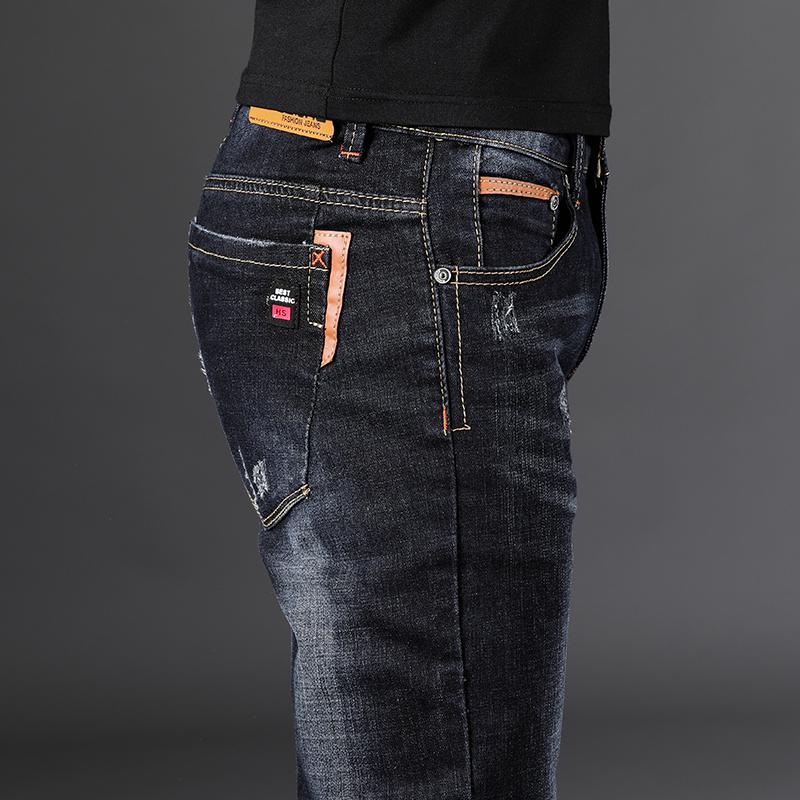 春季黑色男士加绒牛仔裤修身小脚直筒韩版潮流百搭休闲长裤子潮牌
