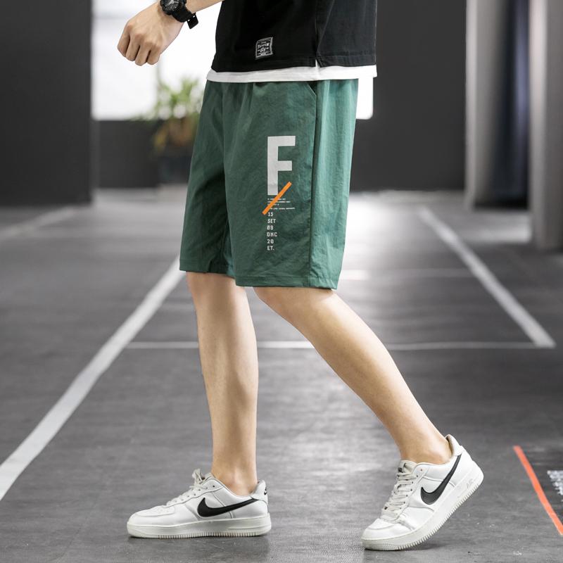 2021夏季薄款沙滩裤男士休闲短裤运动五分裤夏天潮牌学生印花裤子