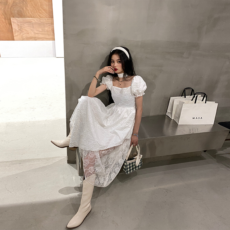 一头阿瓜蕾丝不规则连衣裙女秋choker夏季超仙气中长款泡泡袖裙子