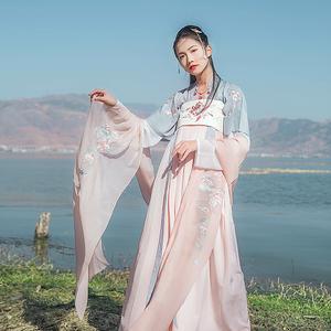 汉尚华莲传统汉服女装月痕高腰齐胸襦裙花朵刺绣春夏装日常款现货