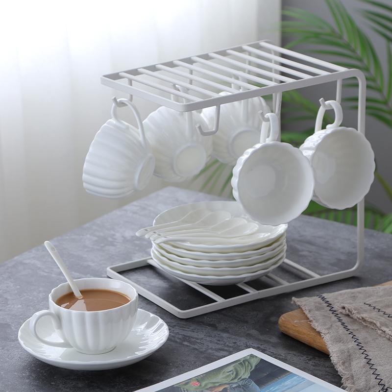 欧式简约铁艺咖啡杯架杯子架家用厨房收纳水杯沥水架茶杯架套装