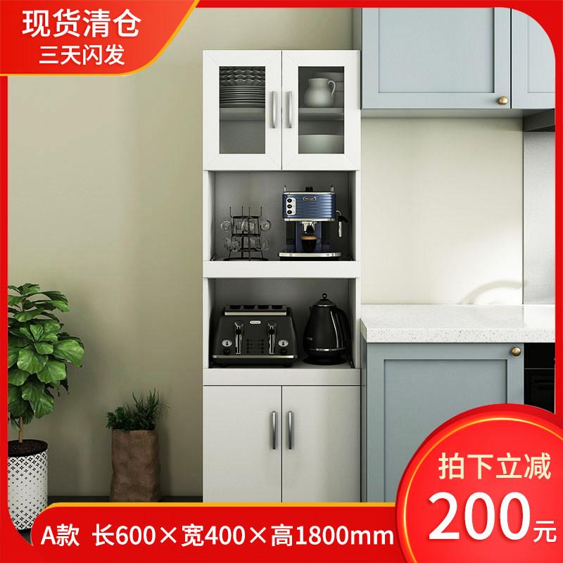 定制餐边柜酒柜高橱柜简约现代厨房储物冰箱微波炉高柜子内嵌烤箱