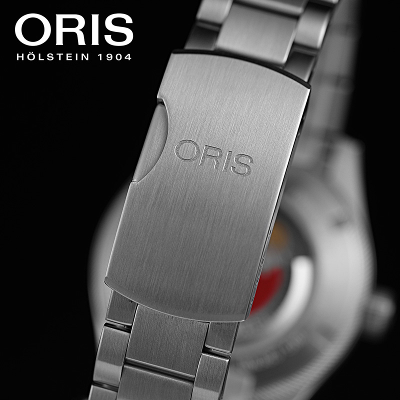 ORIS豪利时航空系列飞行员日历灰盘钢带男士自动机械日历腕表