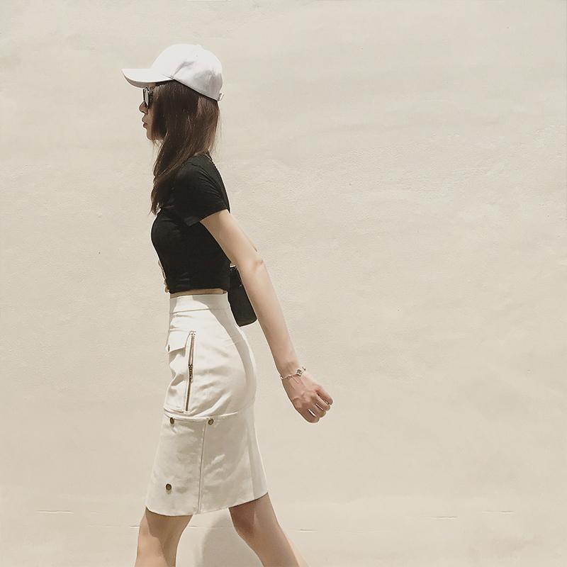 2018夏季新款韩版短袖上衣配裙子两件套包臀开叉半身裙套装女潮