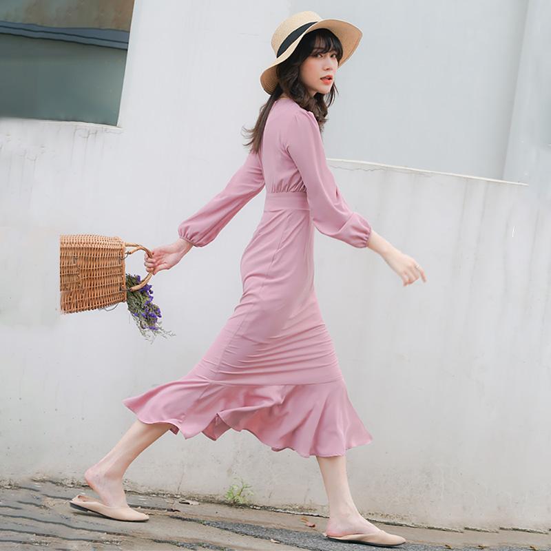 粉色鱼尾连衣裙女中长款春秋雪纺长袖包臀修身显瘦洋气超仙女裙子