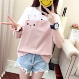 Summer spell color stitching short-sleeved Korean female students loose T-shirt ulzzang wild heart cute girl clothes