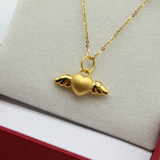 3D Hard Gold Necklace Solid Gold 999 Three-dimensional Love Angel Wings Gold Pendant Transfer Beads To Send Girlfriend Gift