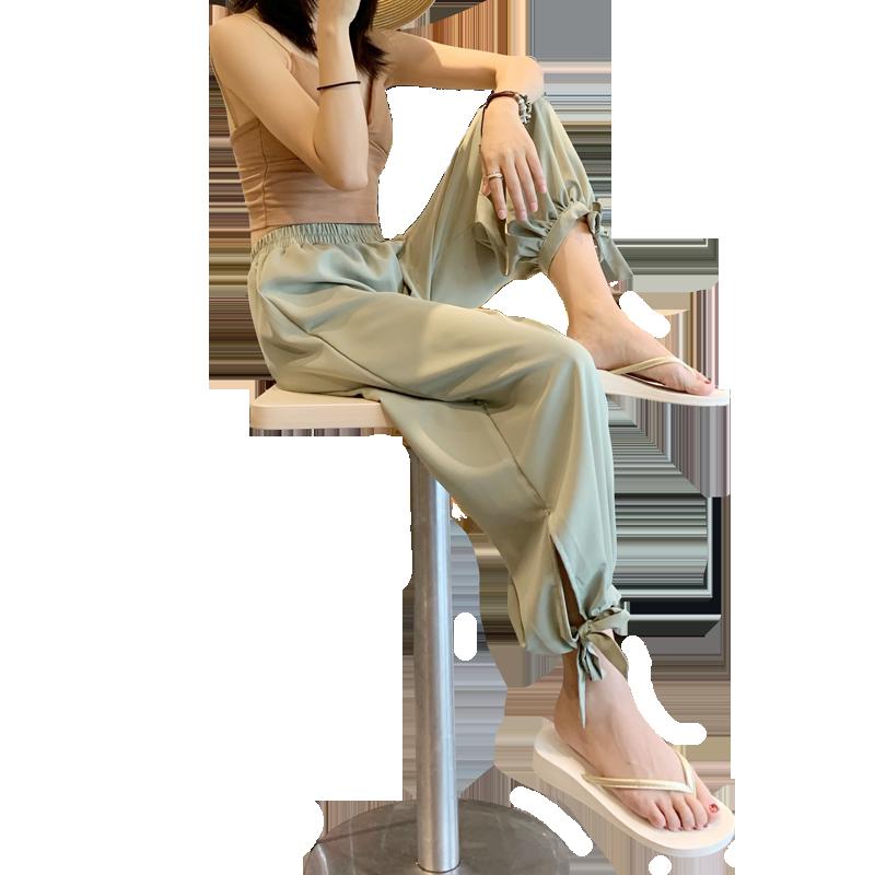 坠感束脚裤女冰丝雪纺灯笼裤夏季薄款防蚊大人高腰垂感宽松阔腿裤
