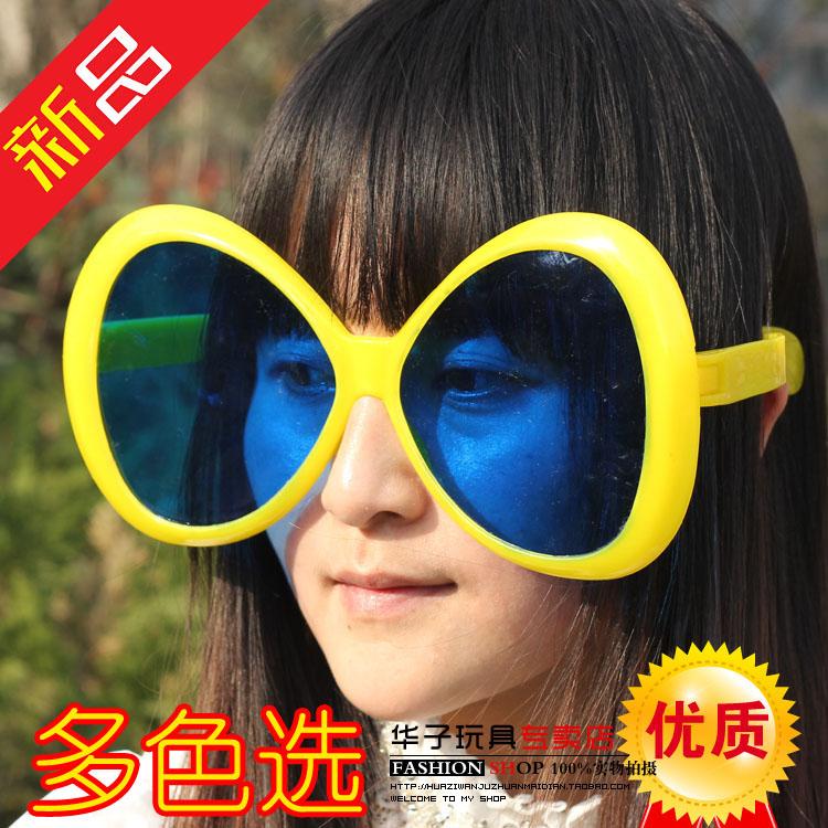 万圣节球迷眼镜夸彩色眼镜酒吧派对道具超大球迷眼镜框架搞怪眼镜