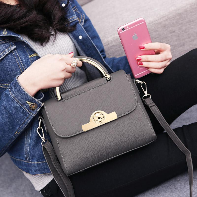 新款潮韩版女包女士手提包简约百搭单肩斜挎包 2018 夏天上新小包包
