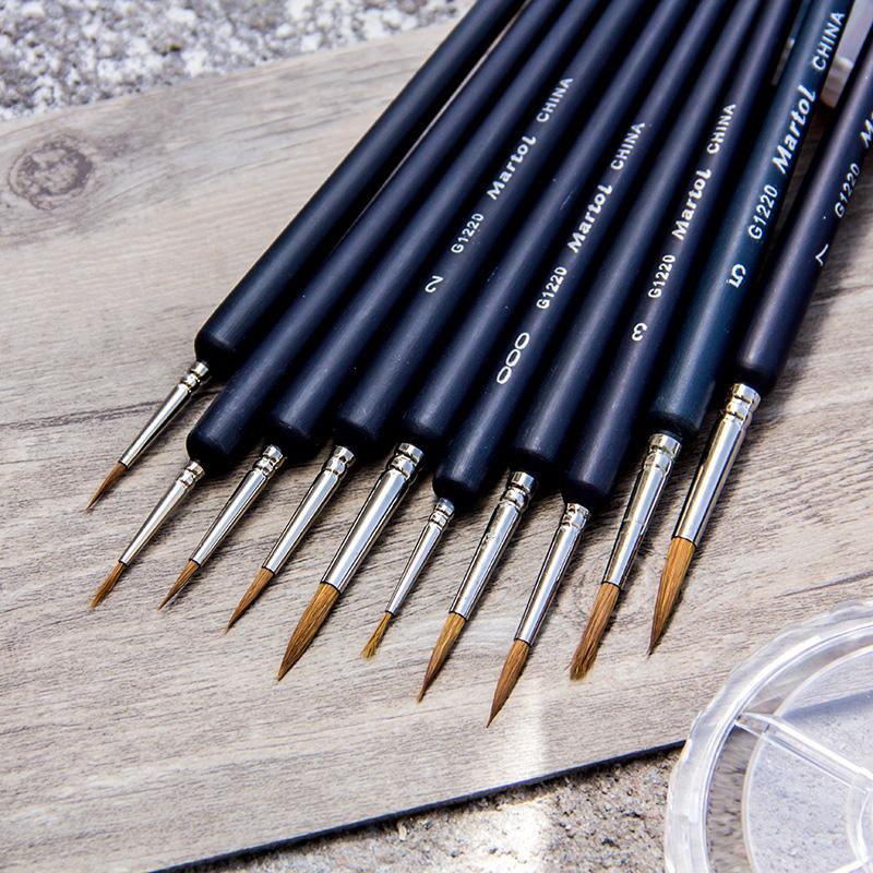 马利牌狼毫勾线笔G1220水彩水粉勾线画笔手绘描边笔小毛笔细工笔细毛笔画笔描线套装水粉丙烯国画工笔描边笔