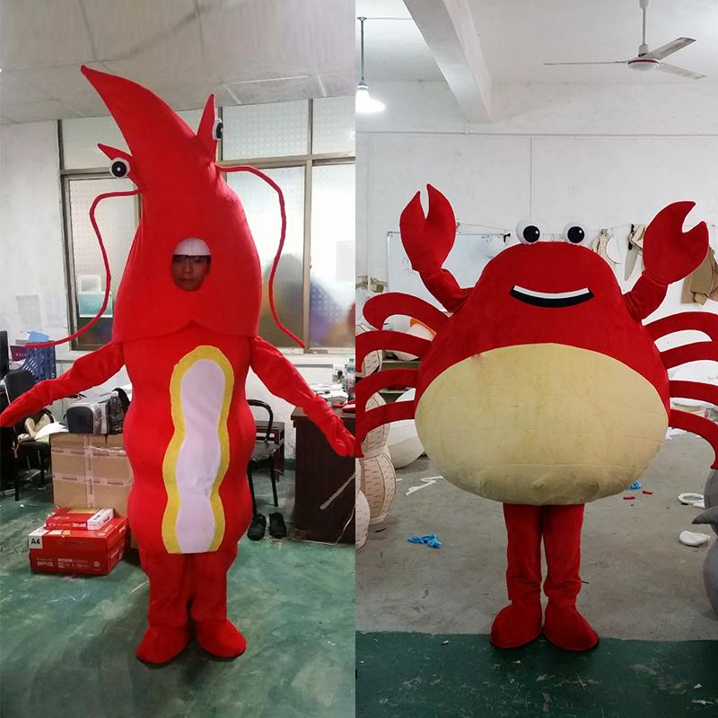成人卡通小龙虾行走人偶服装定制海洋螃蟹道具服装活动公仔玩偶