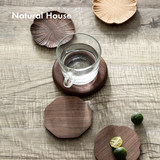 NaturalHouse Clover coasters cup saucer black walnut wood insulation pad anti-hot real Japanese tea ceremony