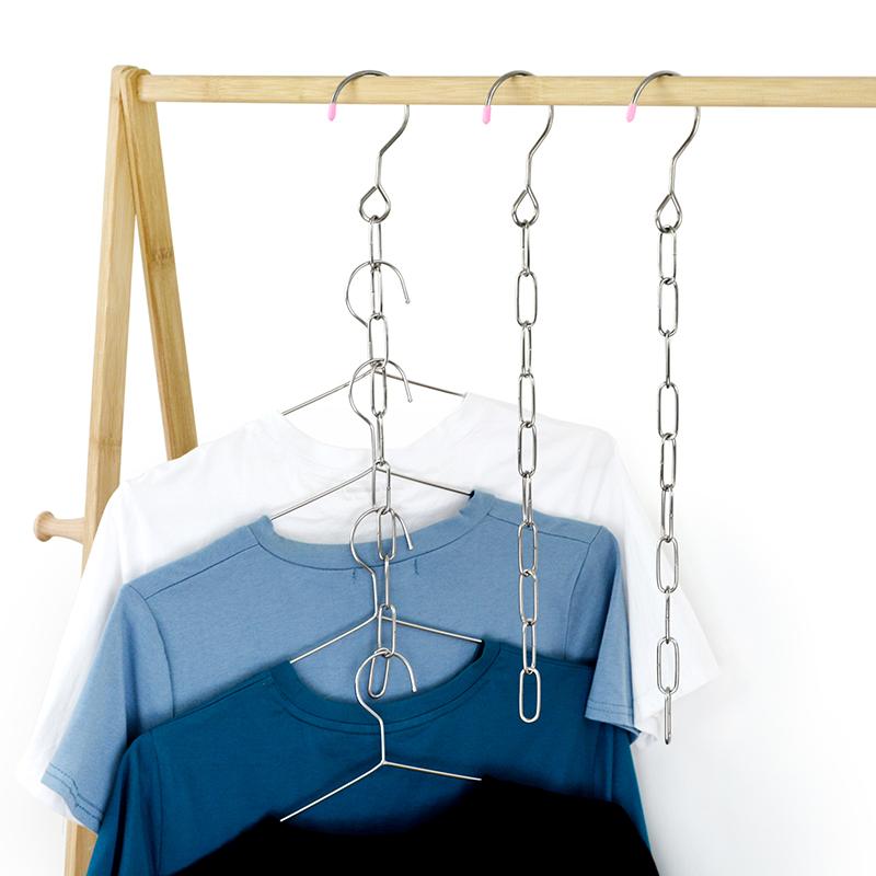多功能衣架收纳神器家用不锈钢魔术衣架子挂钩衣柜收纳链条省空间主图