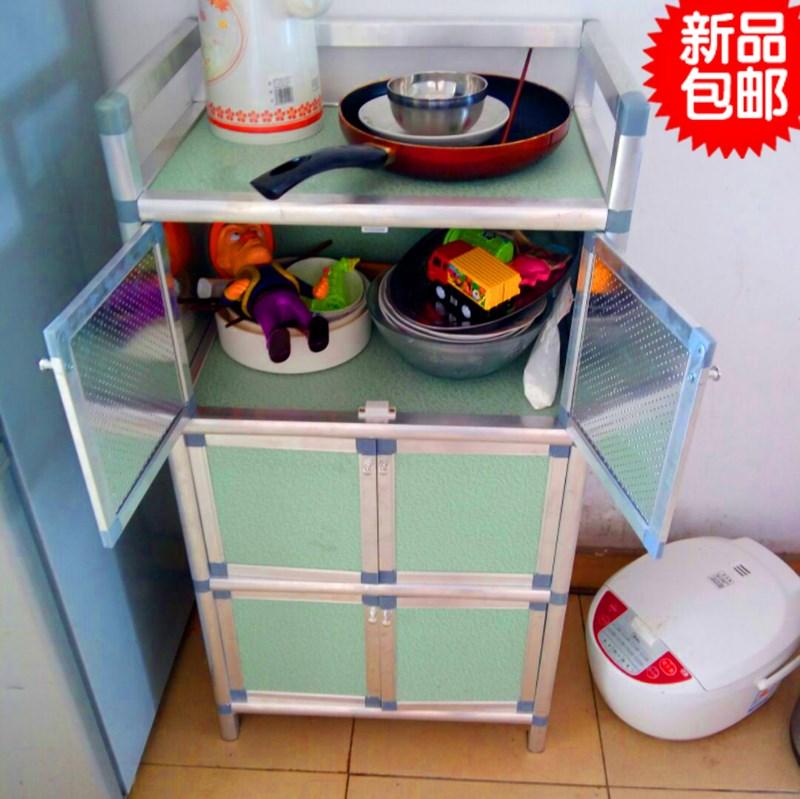 简易餐边柜碗柜厨柜三层组装柜不生锈铝合金柜橱柜厨房收纳柜包邮【图2】