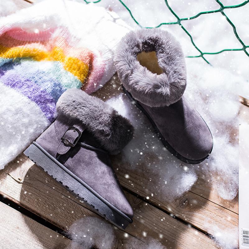 2018秋冬季新款加绒雪地靴女平底学生短筒棉鞋百搭加厚毛毛女靴子