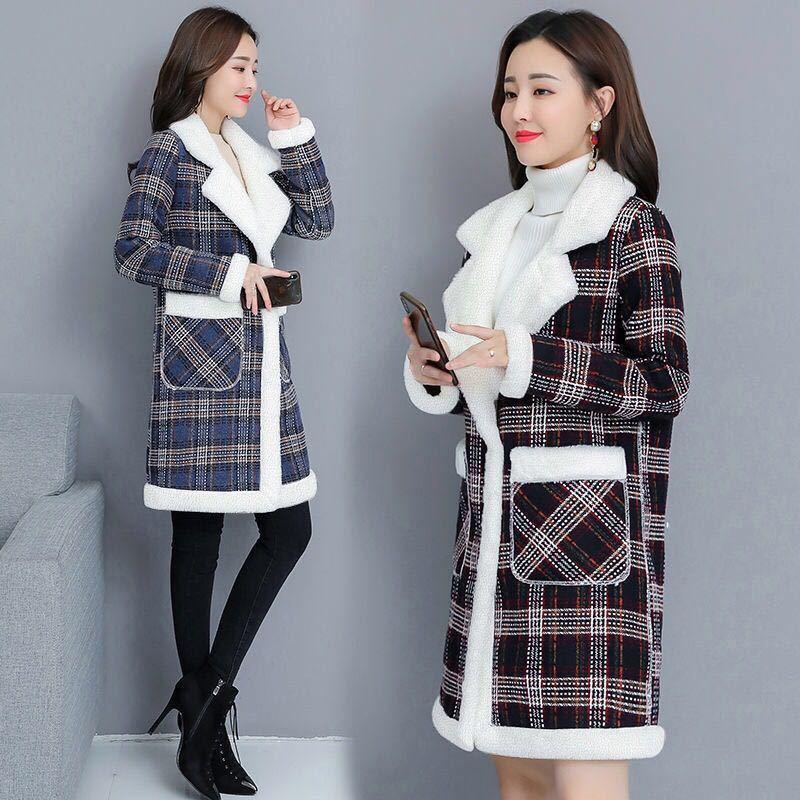 冬季中长款皮毛一体大衣,pby仿羊羔绒衣女中长款保暖棉袄