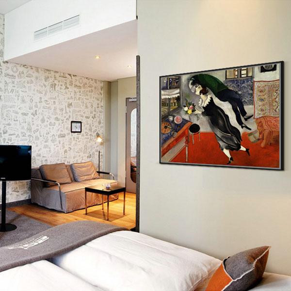【原作版畫】巴黎畫派經典油畫浪漫油畫簡歐臥室掛畫 夏加爾-生日
