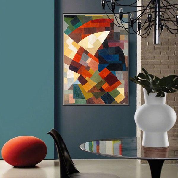 【原作版畫】玄關 沙發背油畫走廊過道抽象幾何裝飾畫 奧托-像素