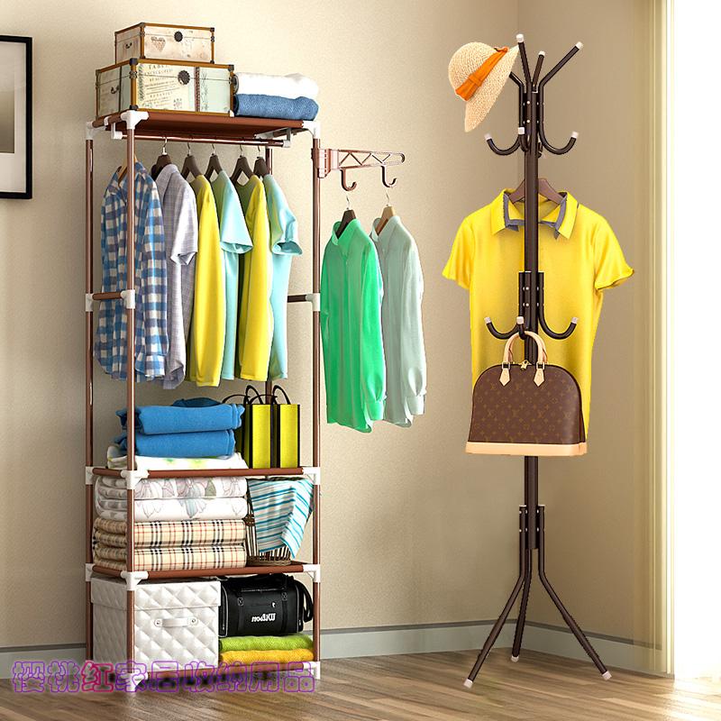 組裝金屬衣帽架臥室多功能床頭架落地掛衣架簡約現代置物架晾衣架